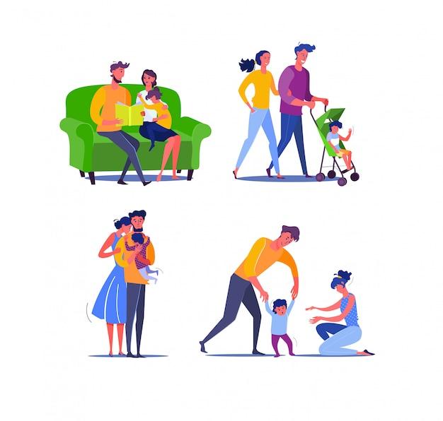 Familia feliz con un bebé