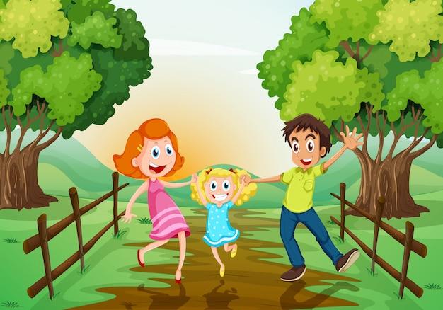 Una familia feliz en el bosque.