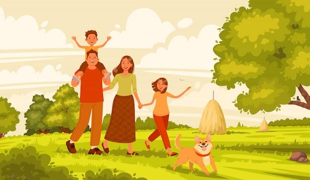 Familia feliz camina en la naturaleza. mamá, papá, hija e hijo están descansando activamente en el pueblo. padres e hijos en el fondo del paisaje de verano.