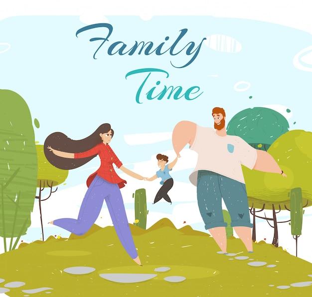 Familia feliz caminando al aire libre. tiempo libre, ocio