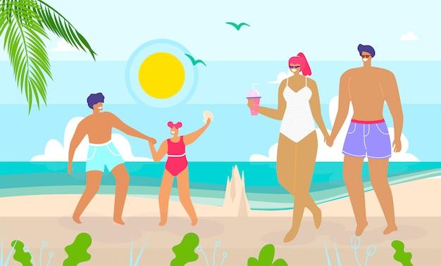 Familia feliz caminando y descansando en la playa
