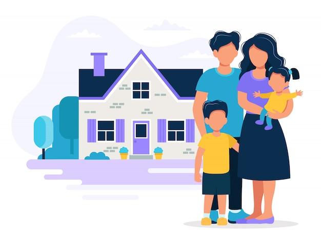 Familia feliz con casa. ilustración del concepto de hipoteca, compra de casa, bienes raíces.