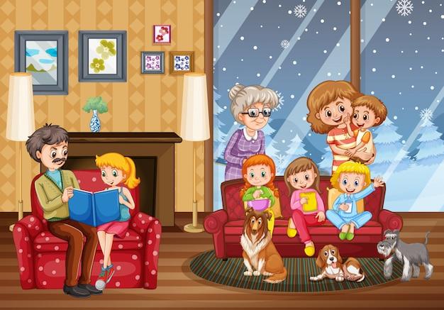 Familia feliz en casa