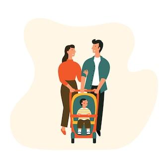 Familia feliz con cochecito de bebé.