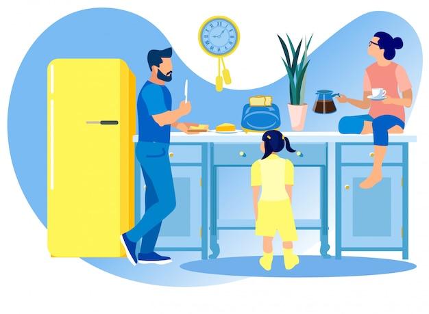 Familia feliz comunicándose y comiendo en la cocina,