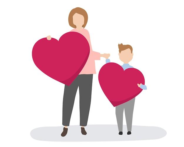 Familia feliz con corazones rojos