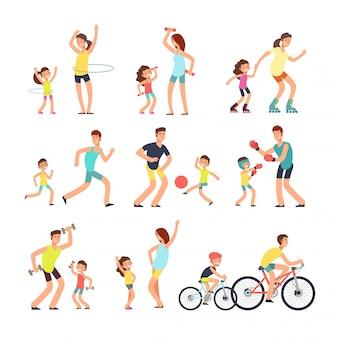 Familia feliz deporte. mamá, papá con niños haciendo ejercicios deportivos al aire libre.