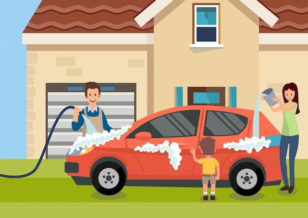 Familia feliz de dibujos animados lava coche cerca de casa