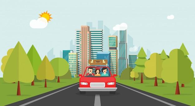 Familia feliz de dibujos animados plana con niño viajando juntos en automóvil