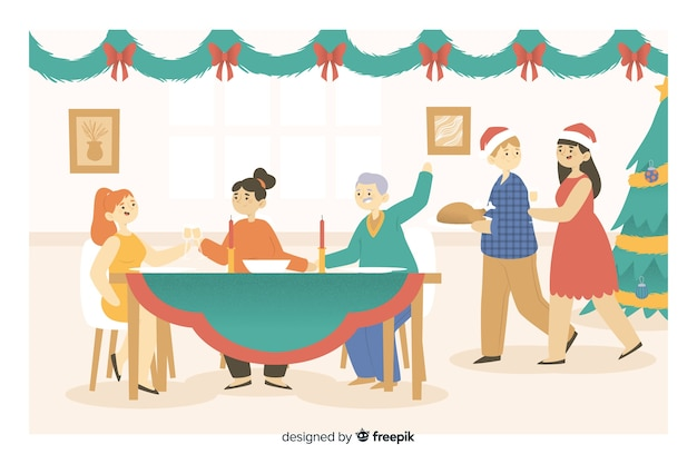 Familia feliz dibujos animados reunidos para la cena de navidad