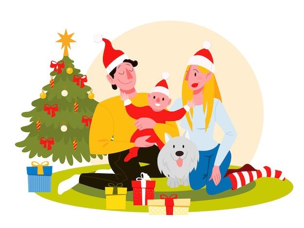 La familia feliz se divierte en la celebración de la navidad. fiesta casera. celebrar el año nuevo. ilustración en estilo de dibujos animados