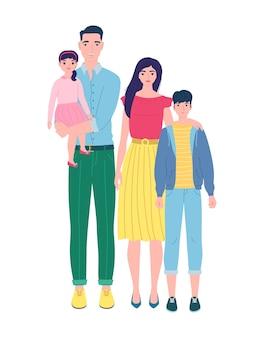 Familia feliz con dos hijos, aislado en blanco. ilustración en estilo plano, se puede utilizar en postales, invitaciones, folletos, carteles, publicidad.