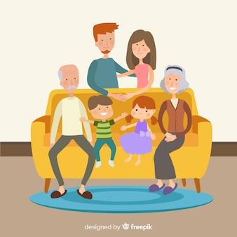 Familia feliz en casa con diseño plano