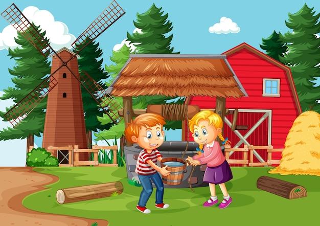 Familia feliz en escena de la granja en estilo de dibujos animados