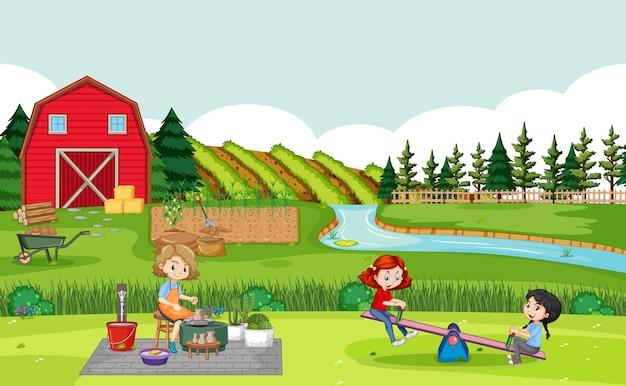 Familia feliz en la escena de la granja con granero rojo en el paisaje de campo