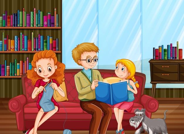 Familia feliz en la escena de la sala de estar.