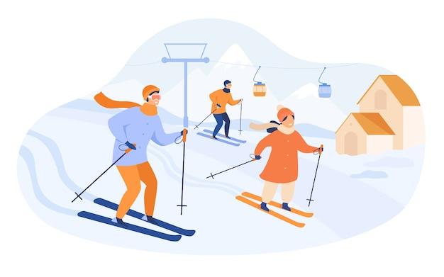 Familia feliz esquiando en las montañas. personas que pasan las vacaciones de invierno en la estación de esquí con ascensor y cabañas. ilustración de vector de actividad, estilo de vida, concepto de deporte