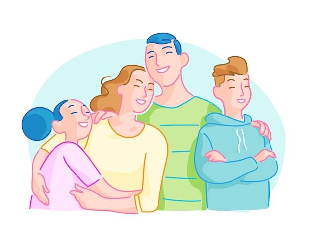 Una familia feliz formada por padres sonrientes e hijos abrazándose