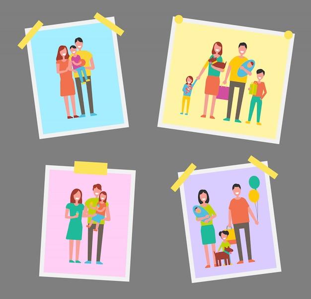 Familia feliz gente fotos vector ilustración
