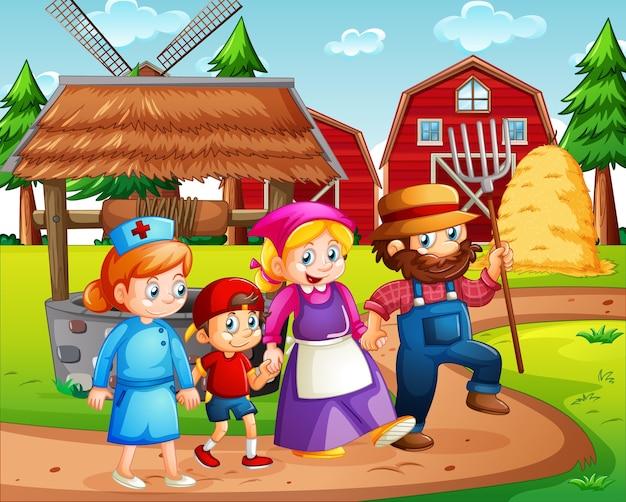 Familia feliz en la granja con granero rojo y escena de molino de viento