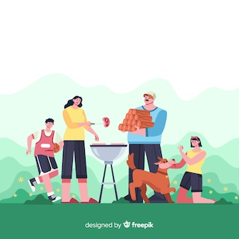 Familia feliz haciendo actividades al aire libre. diseño de personajes