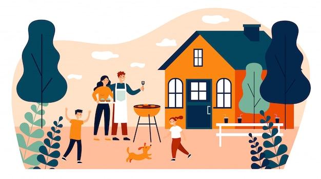 Familia feliz haciendo barbacoa en la ilustración de vector plano de jardín
