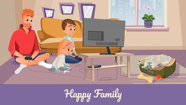 Familia feliz historieta hombre chico chica jugar videojuego