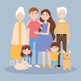 Familia feliz con ilustración de mascotas