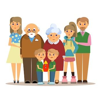 Familia feliz. ilustración de vector de estilo plano sobre fondo blanco