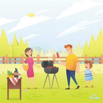 Familia feliz con ilustración de vector de fiesta de barbacoa