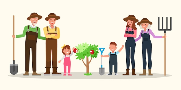 Familia feliz jardinería juntos.