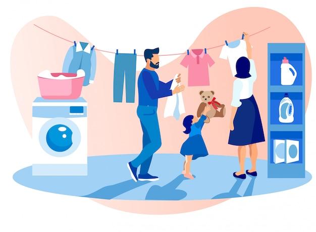 Familia feliz lavando y secando ropa, quehaceres