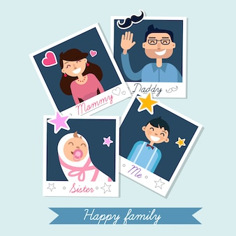 Familia feliz en marcos de fotos en vector