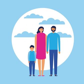 Familia feliz con niño, estilo plano