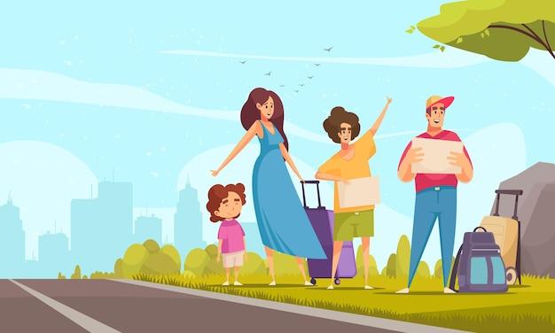 Familia feliz con niño haciendo autostop esperando coche al lado de la carretera de dibujos animados