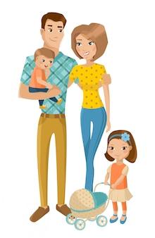 Familia feliz con niños aislados