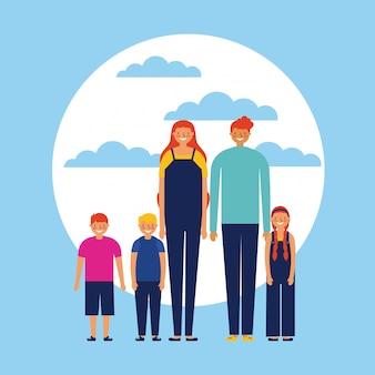Familia feliz con niños, estilo plano