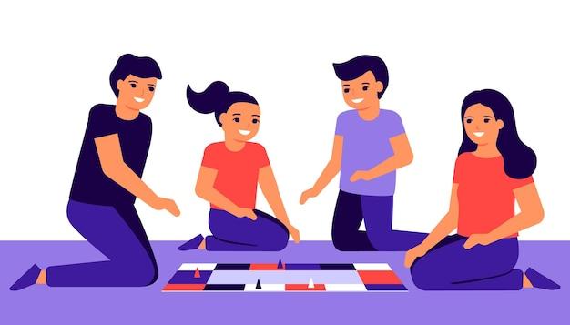 Familia feliz con niños juegan en casa.