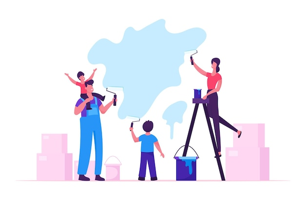 Familia feliz con niños pintando la pared con rodillos haciendo renovación en casa. ilustración plana de dibujos animados