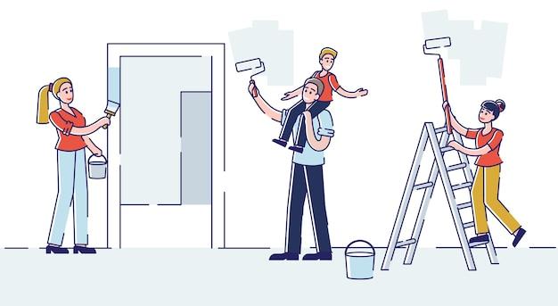 Familia feliz con niños repare la pared de pintura casera con rodillos para renovar la habitación