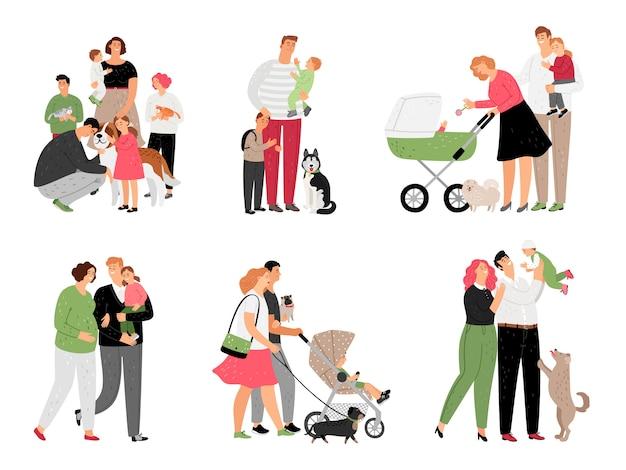 Familia feliz, con, niños