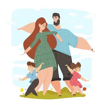 Familia feliz con niños