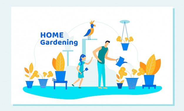 Familia feliz padre e hija jardinería en casa