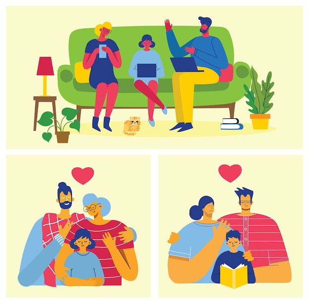 Familia feliz. padre, madre e hija juntos. ilustración vectorial en un diseño plano