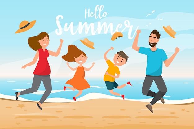 Familia feliz con padre, madre, hijo e hija saltan juntos en viaje de verano