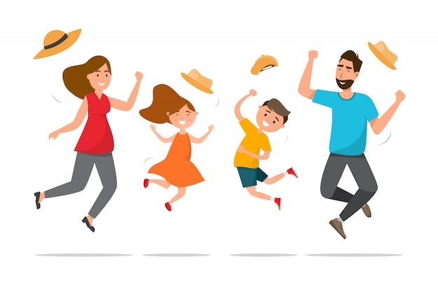 Familia feliz. padre, madre, hijo e hija saltan juntos en viaje de verano.
