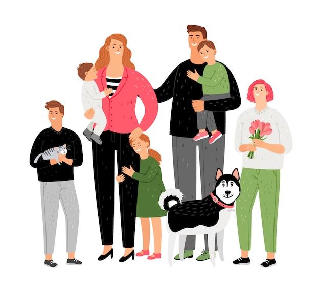 Familia feliz, padres con hijos y mascotas.