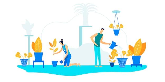 Familia feliz pareja jardinería tarea con plantas