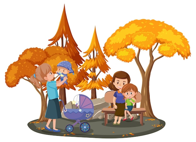 Familia feliz en el parque con muchos árboles de otoño