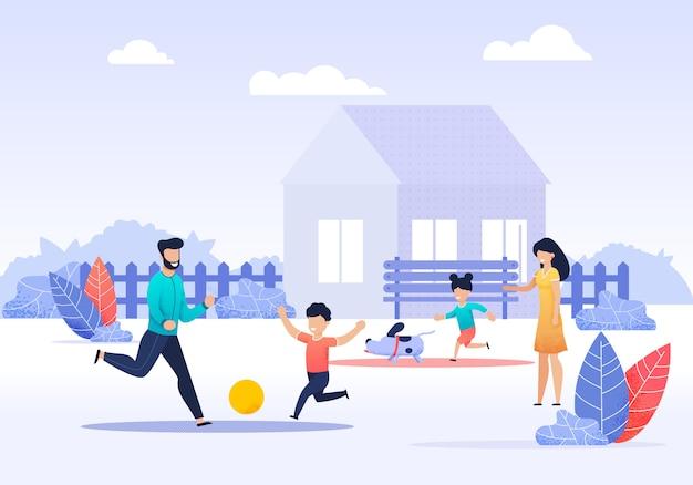 Familia feliz pasar tiempo en dibujos animados de patio trasero